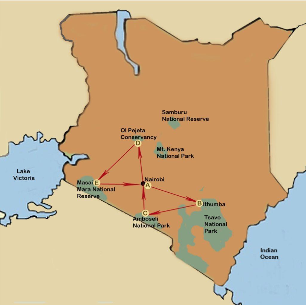 Wildlife conservation safari of kenya holden safaris map gumiabroncs Images