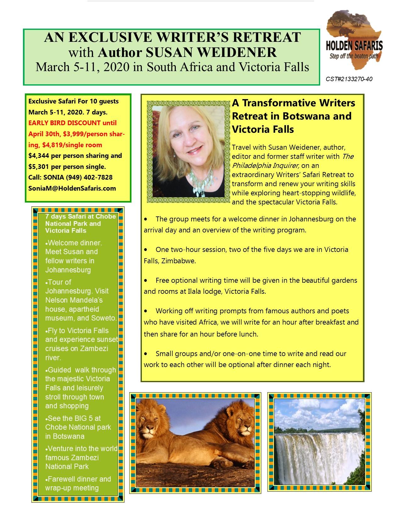 EARLY-BIRD DISCOUNT FLYER-WRITERS RETREAT- Susan Weidener-Preliminary-March 2020